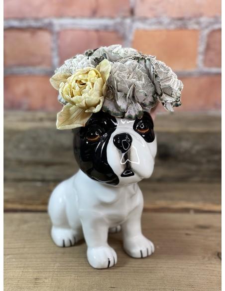 Adorabile porta vaso in ceramica a forma di bulldog, della collezione Animalando