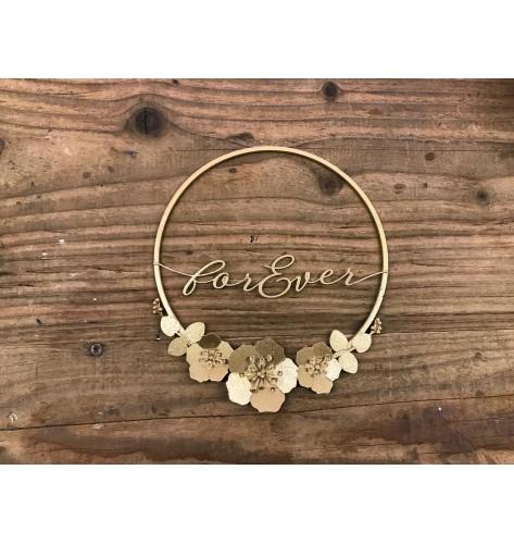 """Cerchio in metallo color oro glitterato, con scritta """"For Ever"""""""